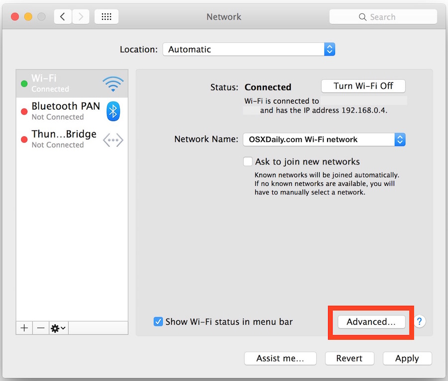 Accessing DNS settings in Network preference panel of Mac OS X
