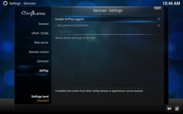Enable AirPlay support in Kodi TV player