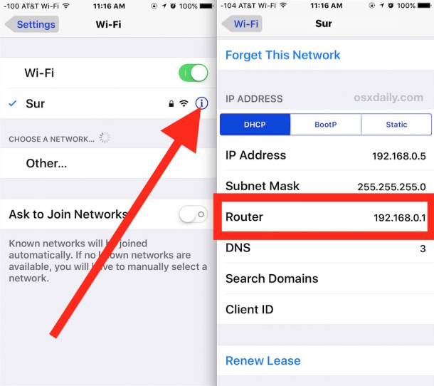 Find router gateway IP address info in iOS