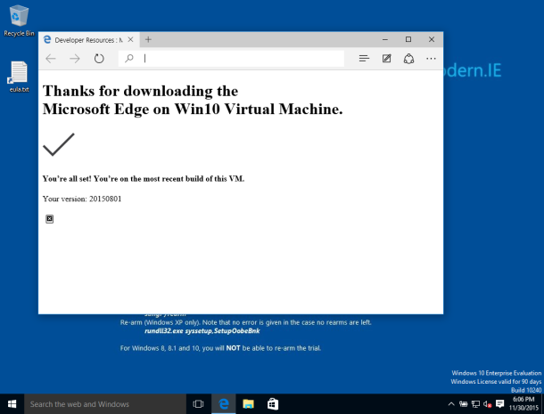 First boot of Microsoft Edge VM