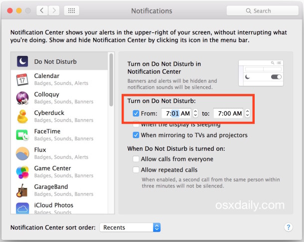 Disable all alerts in Notification Center with constant Do Not Disturb mode in Mac OS X