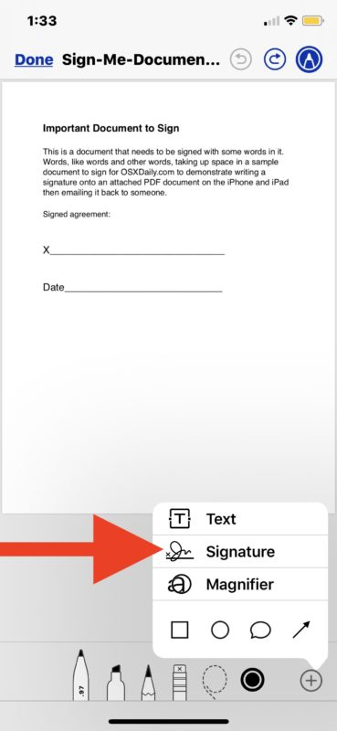 How to sign documents from Mail app on iOS