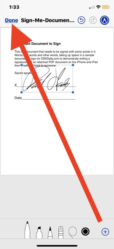 Place the signature then tap on Done