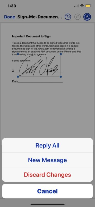 How to sign documents and return the signed document directly from Mail app on iOS