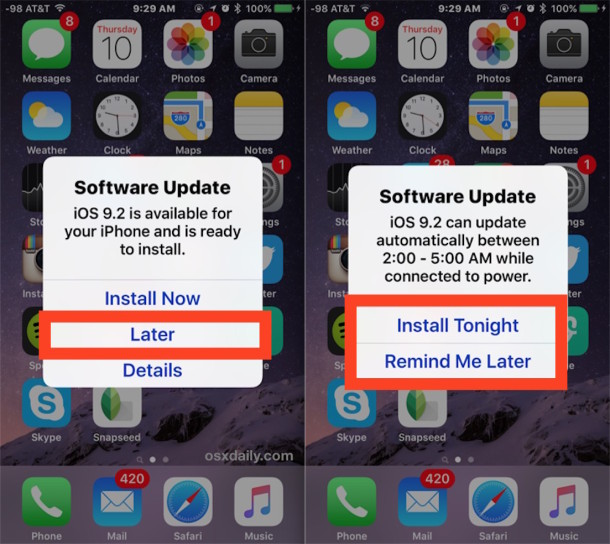 iOS Software Update available to install automatically later in the night or remind later