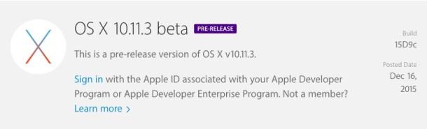 OS X 10.11.3 Beta 1