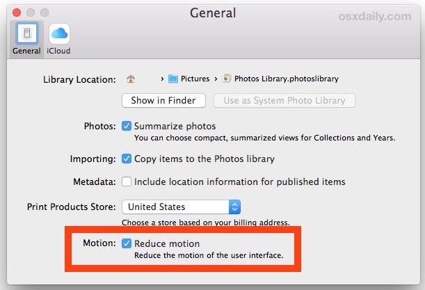 Reduce Motion in Photos app for Mac OS X