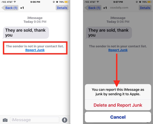Report iMessage junk as spam and delete