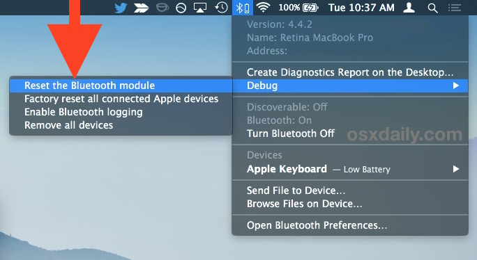Reset Bluetooth module in Mac OS X