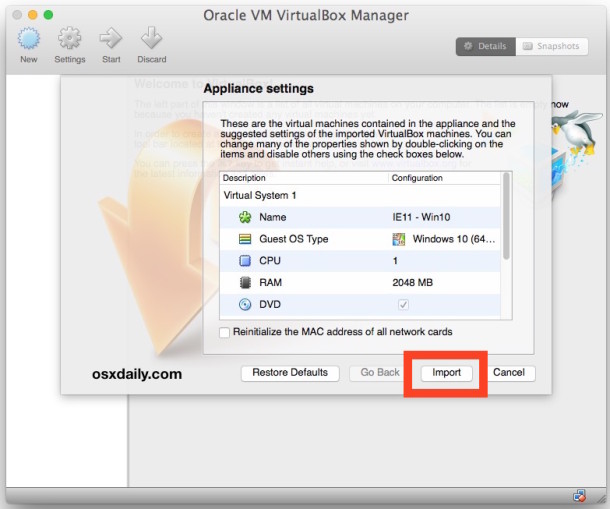 Import the Microsoft Edge virtual machine into VirtualBox
