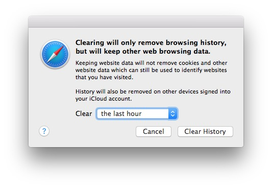 Safari remove browser history but keep web browsing data and cookies on Mac Safari