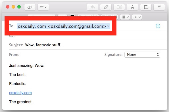 Full email address shown in Mac Mail app