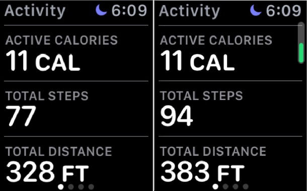 Step counter pedometer on Apple Watch