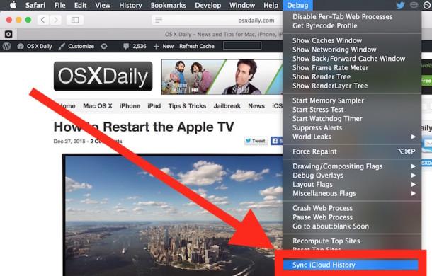 Sync Safari iCloud History from Mac OS X