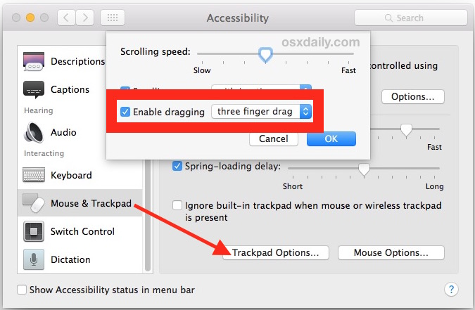 Enable Three Finger Drag Gesture in Mac OS X Trackpad
