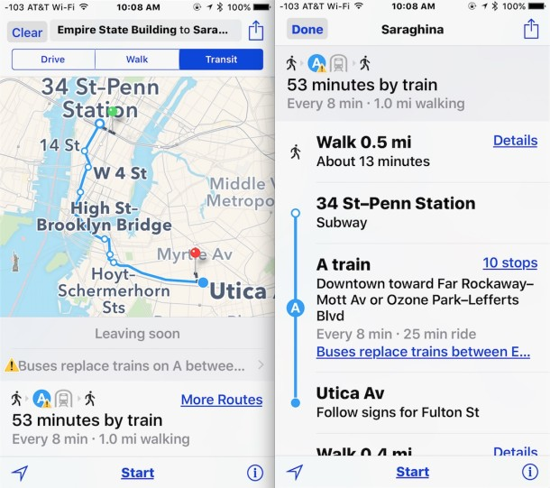 Get transit directions in iOS Maps
