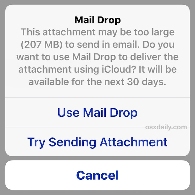 Using Mail Drop in iOS for sending large files