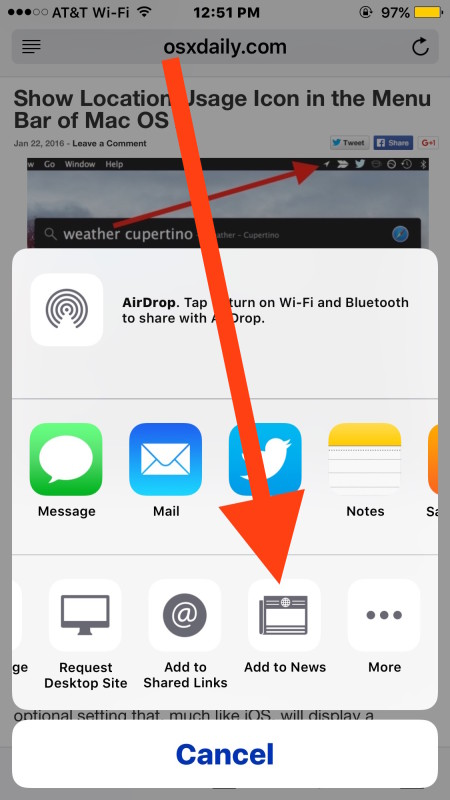Manually subscribe to RSS sites in Apple News with Add to News in iOS Safari