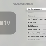 the Apple TV advanced settings screen of tvOS with various internal options