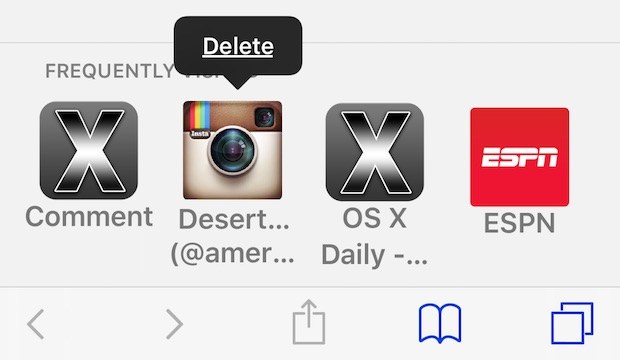 Delete frequently visited sites in Safari for iOS