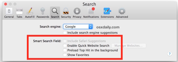 Disable Safari Smart Search options