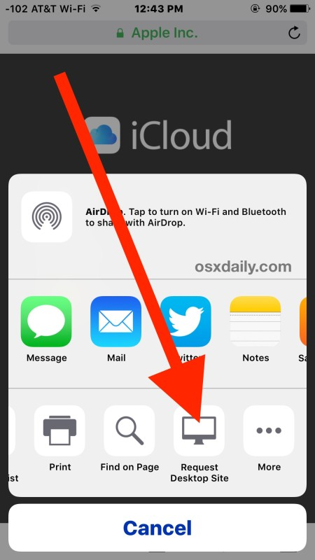 Access the sign in page for iCloud.com from iPhone and iPad