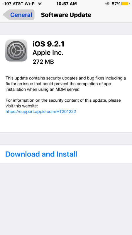 iOS 9.2.1 update OTA download
