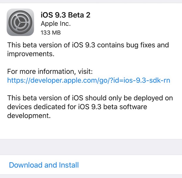 iOS 9.3 beta 2 download