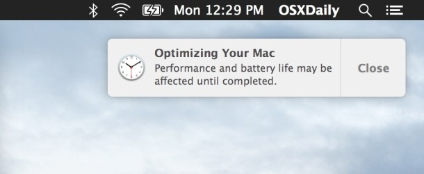Optimizing Your Mac notification in Mac OS X