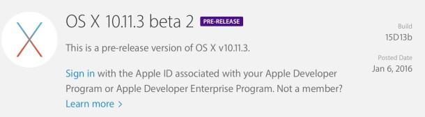 OS X 10.11.3 Beta 2