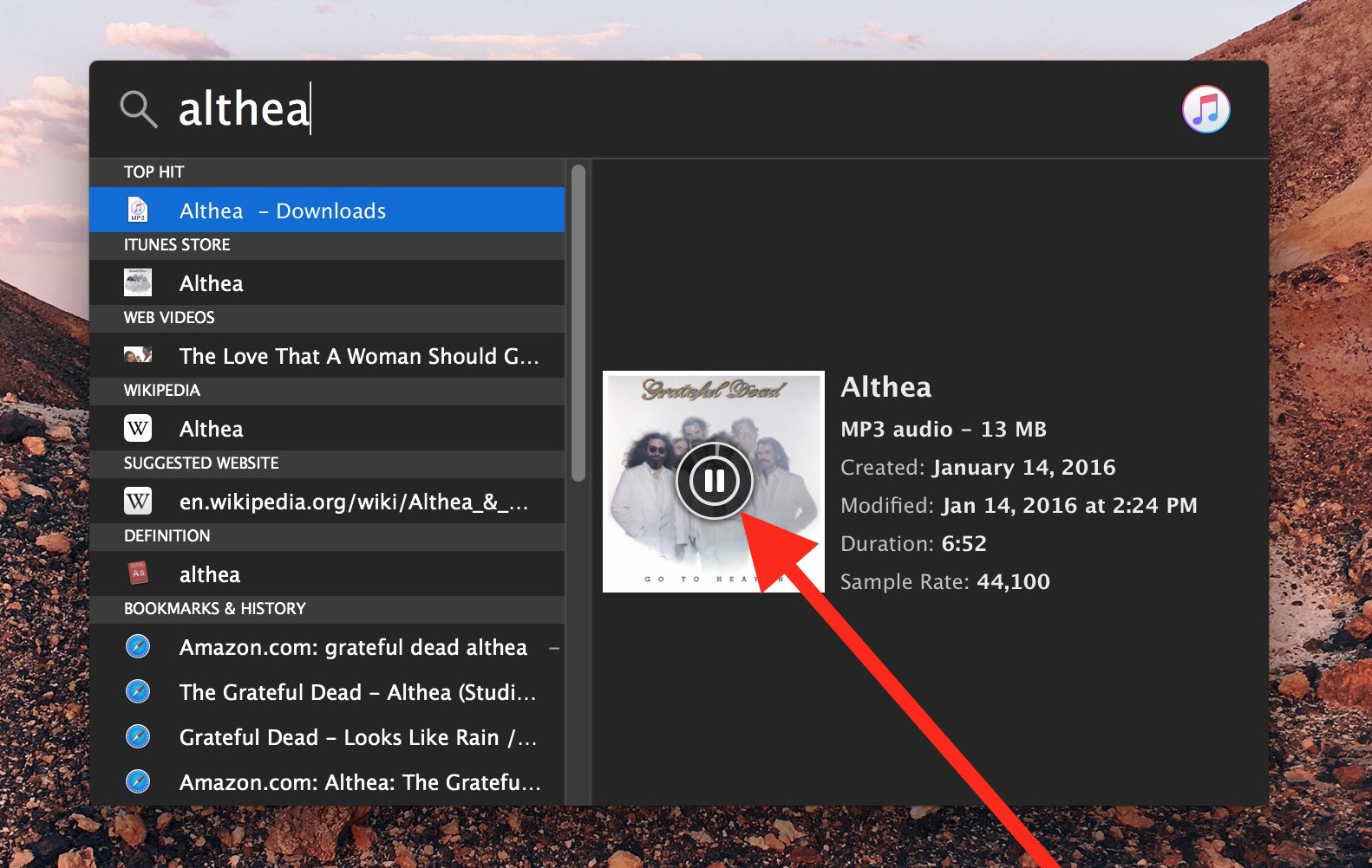 Play and pause music directly from Spotlight search on Mac OS X