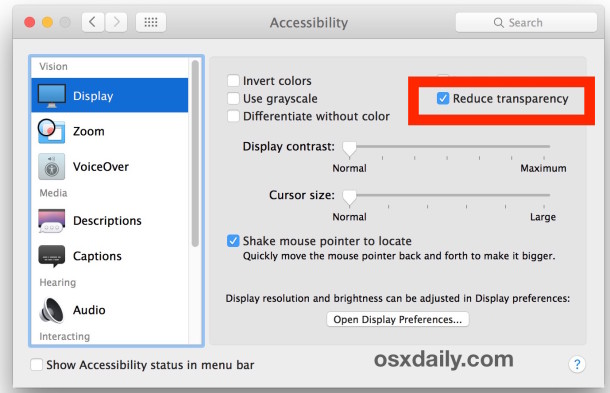 Reduce Transparency in Mac OS X to turn off translucent interface effects on Mac
