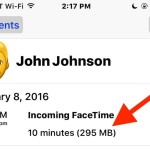 Check FaceTime call data usage per call in iOS