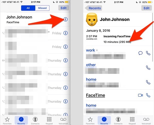 See FaceTime call data usage in iOS