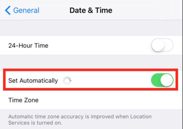 Set the iPhone date and time automatically through the internet
