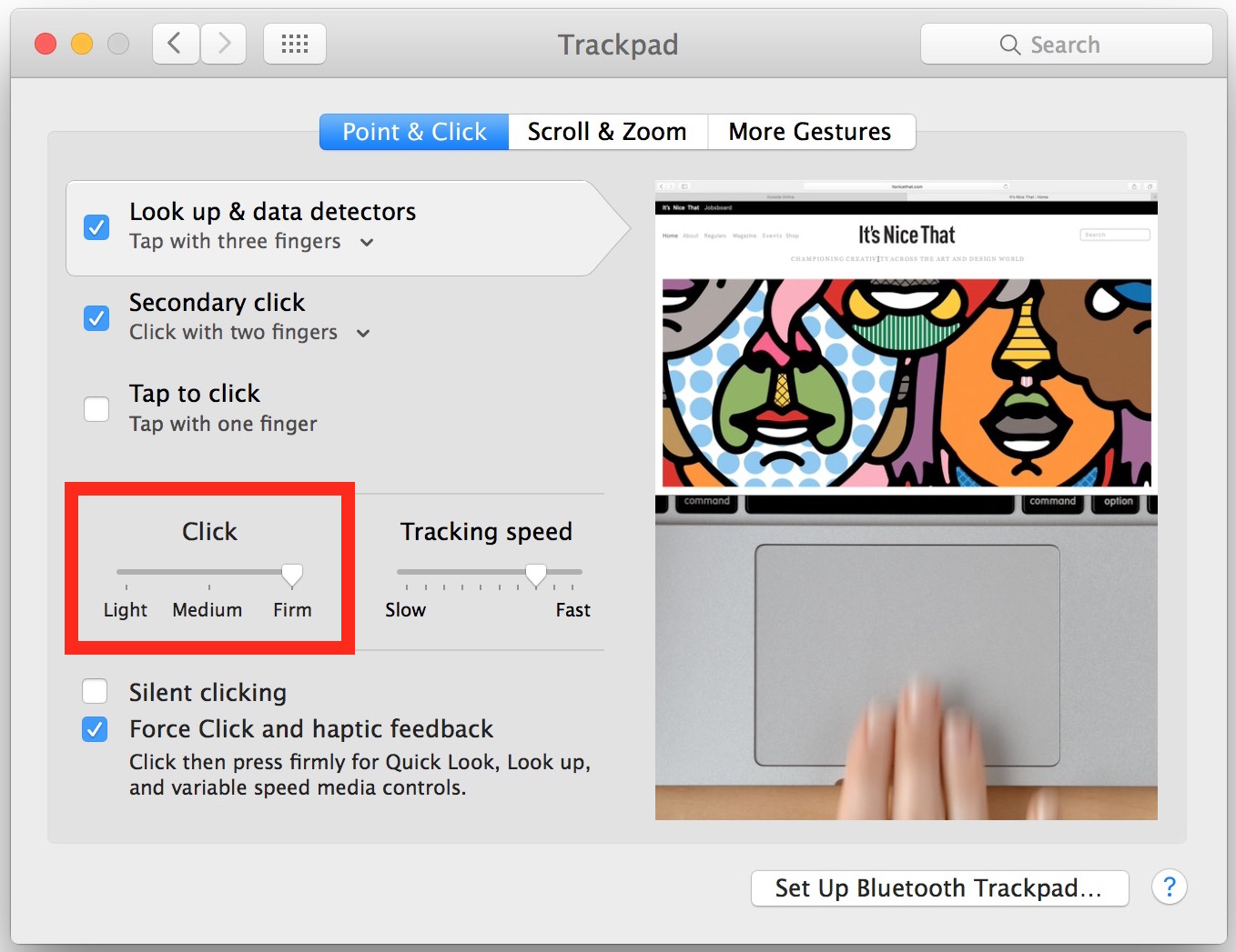 Adjust Force Click touch pressure on Mac trackpad