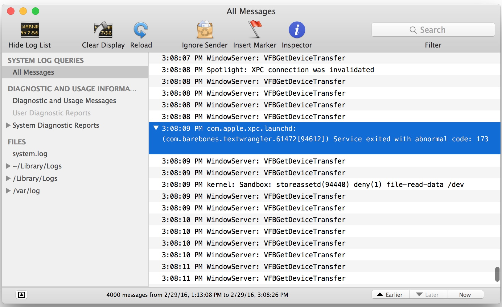 Error 173 in console when app store apps crash on launch