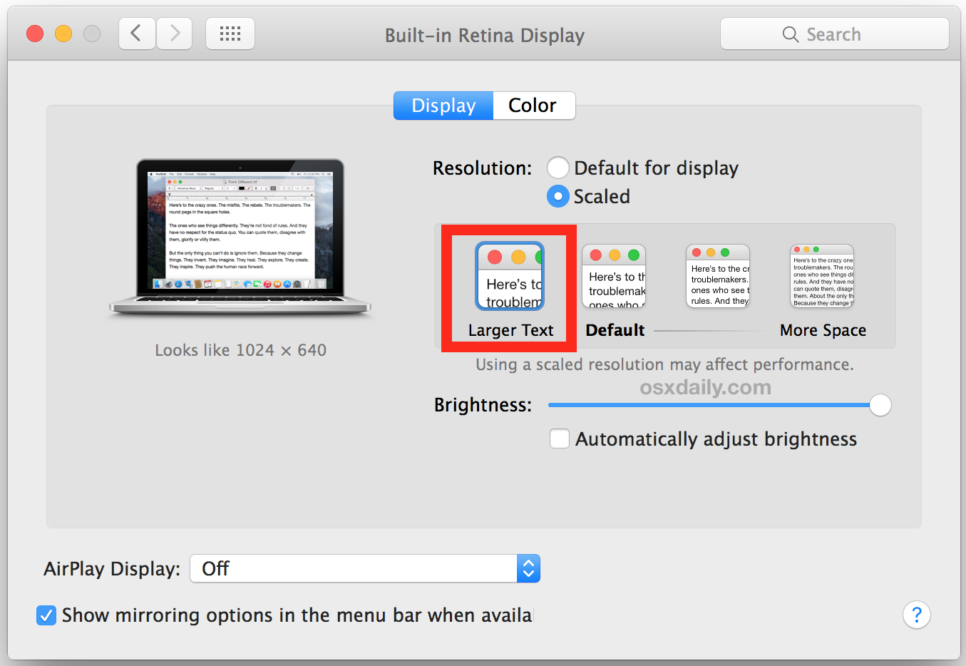 Increase Mac system text size with Larger Text scaled option