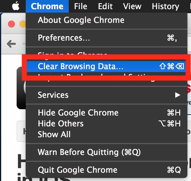 Clearing browser cache in Chrome