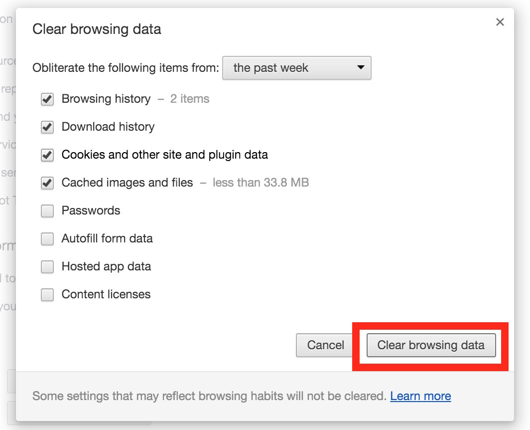 Chrome clear web data and browser cache