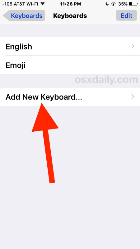 Add new keyboard iOS