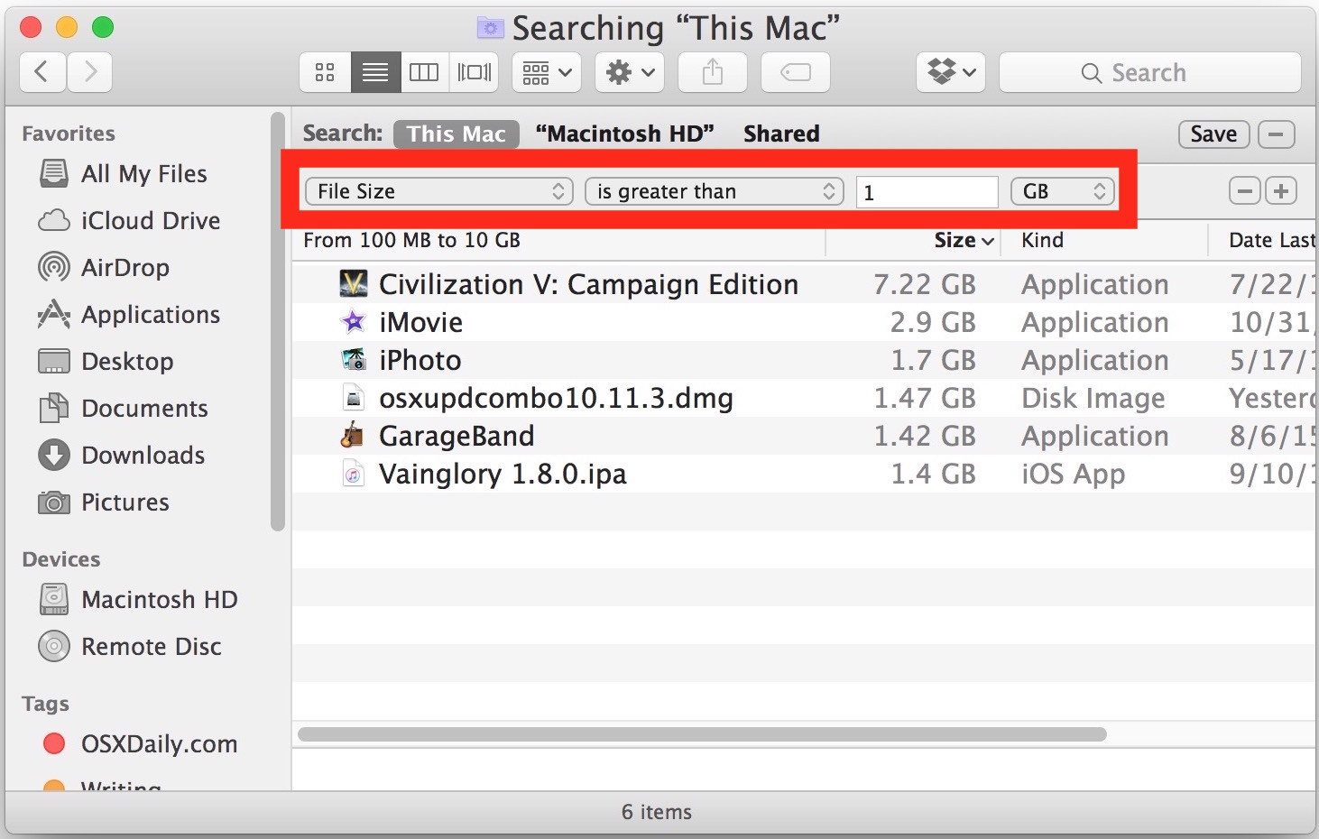 Finding large file size files in Mac OS X search can help clear out startup disk that is full