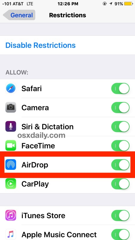 Fix AirDrop not showing up in iOS