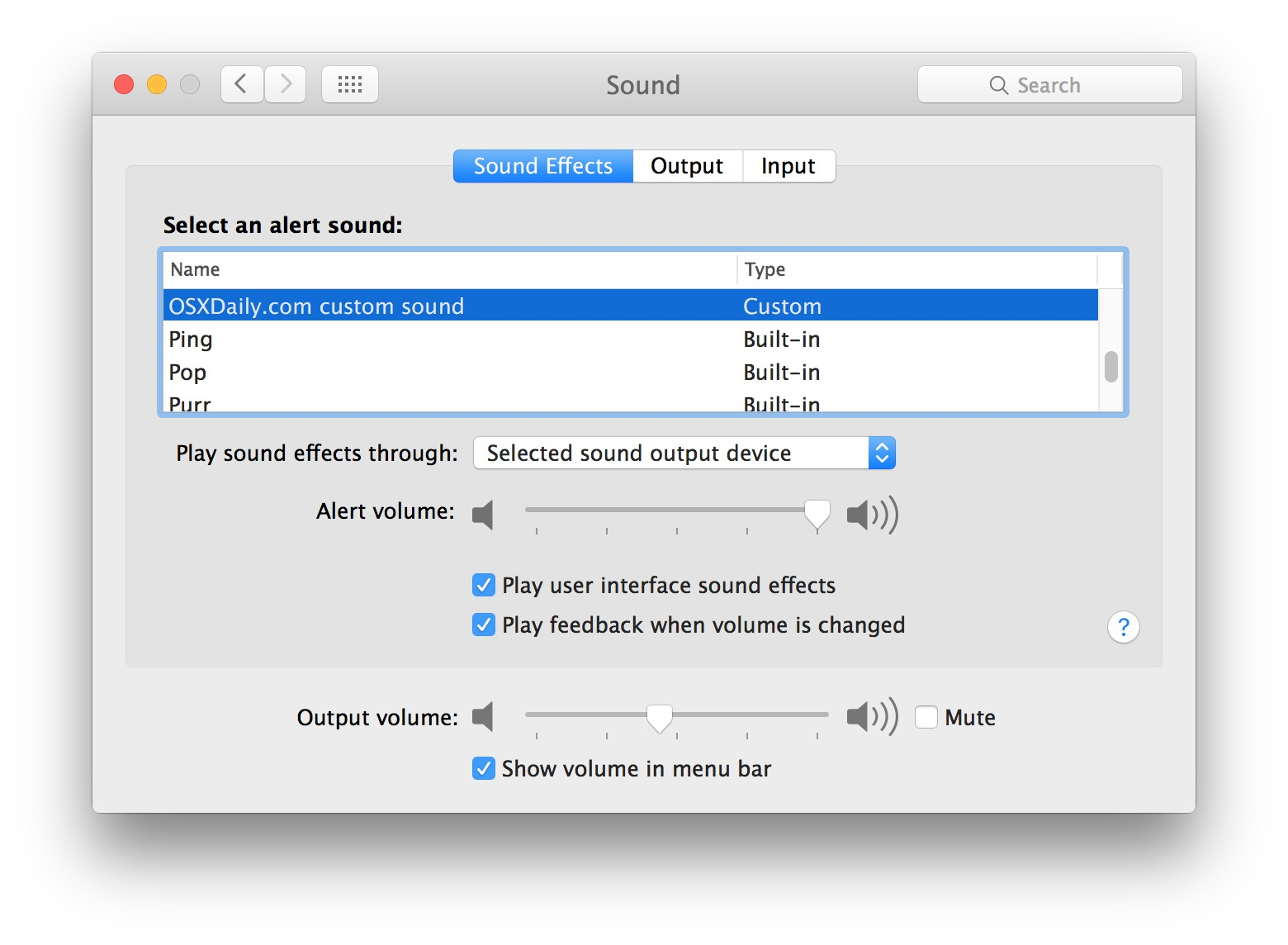Custom System Audio alert sound in Mac OS X