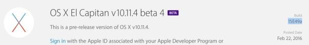 OS X 10.11.4 beta 4