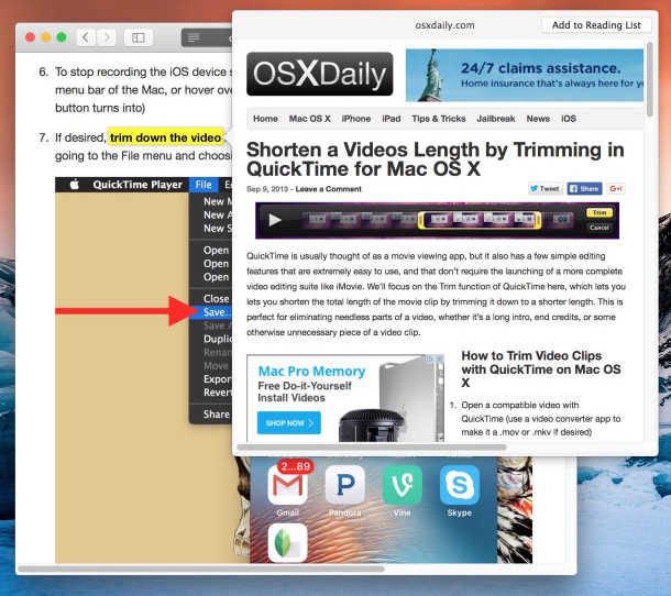 Preview a web page link in Safari with a three finger tap