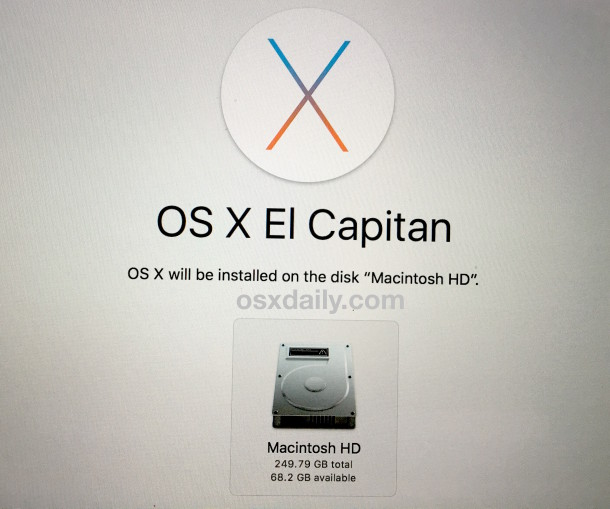 Reinstall OS X from recovery mode