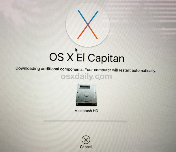 Reinstalling OS X downloads additional components