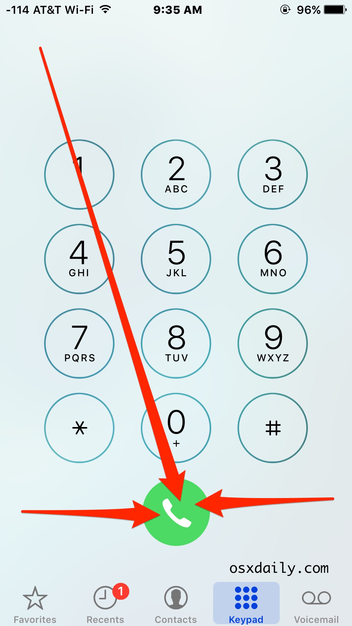 Redial the last number called on iPhone