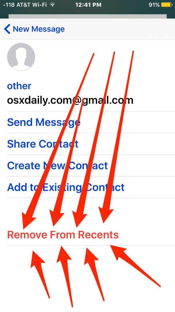 Removing an email address from the recent suggestions list in iOS Mail